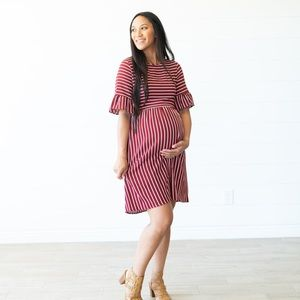 Flamingo Urban Striped Midi in Burgundy